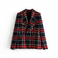 2019 Korean Spring Vintage Women Slim Patchwork Plaid Tweed Jacket Double Breasted Long Sleeve Female Coat Office Ladies Outwear