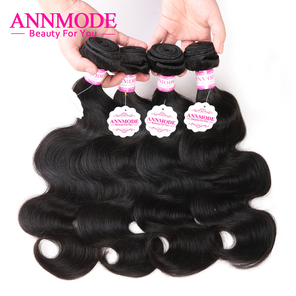 Annmode indien corps vague cheveux humains paquets 100% cheveux humains armure paquets 8-28 pouces Remy Extensions de cheveux livraison gratuite
