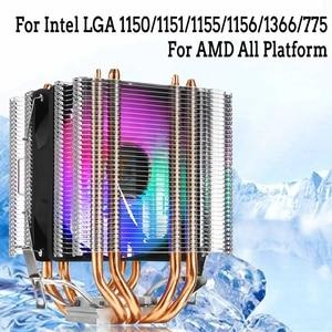 RGB светодиодный кулер для процессора 4pin 4 Heatpipe Dual Tower 12V кулер охлаждающий вентилятор Радиатор для Intel LAG 1155 1156 775 для AMD Socket AM3