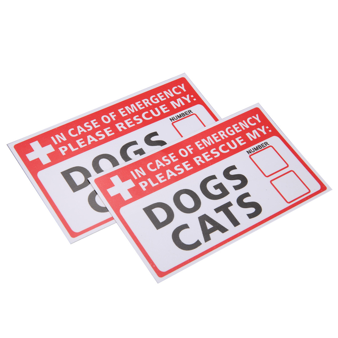 2pcs Safurance Emergency Pet Rescue Decal DOG CAT Vinyl Sticker Label Signs Safety Warning 74*125mm For Security Safety
