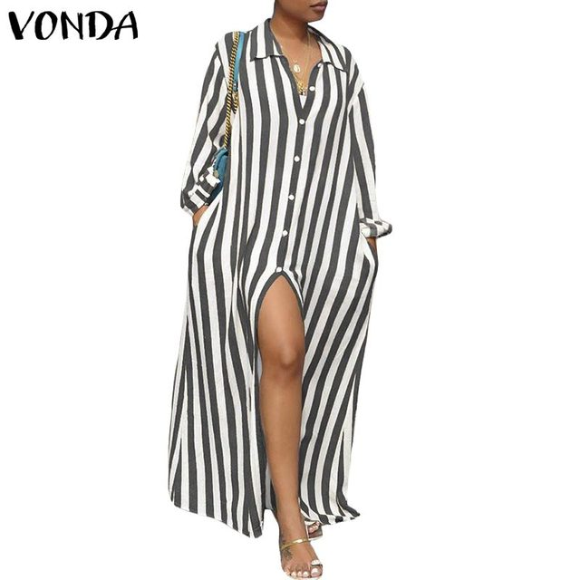 126695732e808 VONDA Women Striped Dress 2019 Autumn Long Sleeve Buttons Split Long Maxi  Dresses Female Casual Robe Plus Size Vestidos