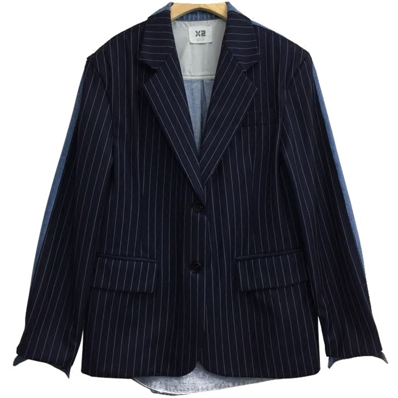 Unique 2019 Dames D'été Bande À Nouvelle Manteau Automne Blazer Col Blue Entaillé L138 De Denim Mode Poitrine Motifs Spliced Navy qr5CqPw8O