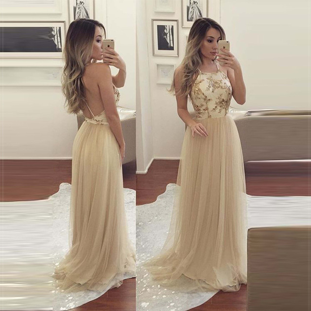 backlakegirls elegant sequined halter evening dress 2018 new pattern hot  sale time limited discount fromal evening prom gowns d58c0d5652b3
