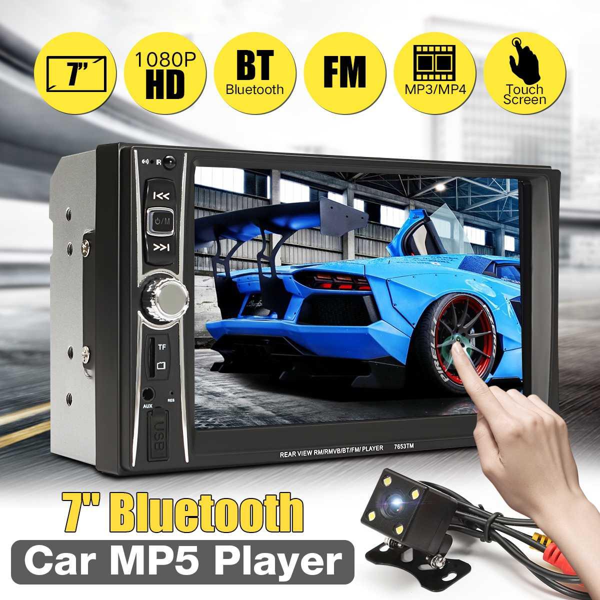 7 pouces bluetooth autoradio stéréo USB FM 2 Din écran tactile multimédia DVD Audio MP5 lecteur vue arrière caméra télécommande