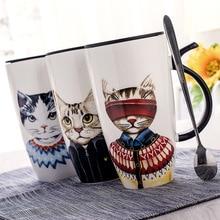 Cool Cat Ceramics Coffee Mug With Lid Large Capacity 600ml Animal Mugs creative Drinkware Tea Cups Novelty Gifts milk cup