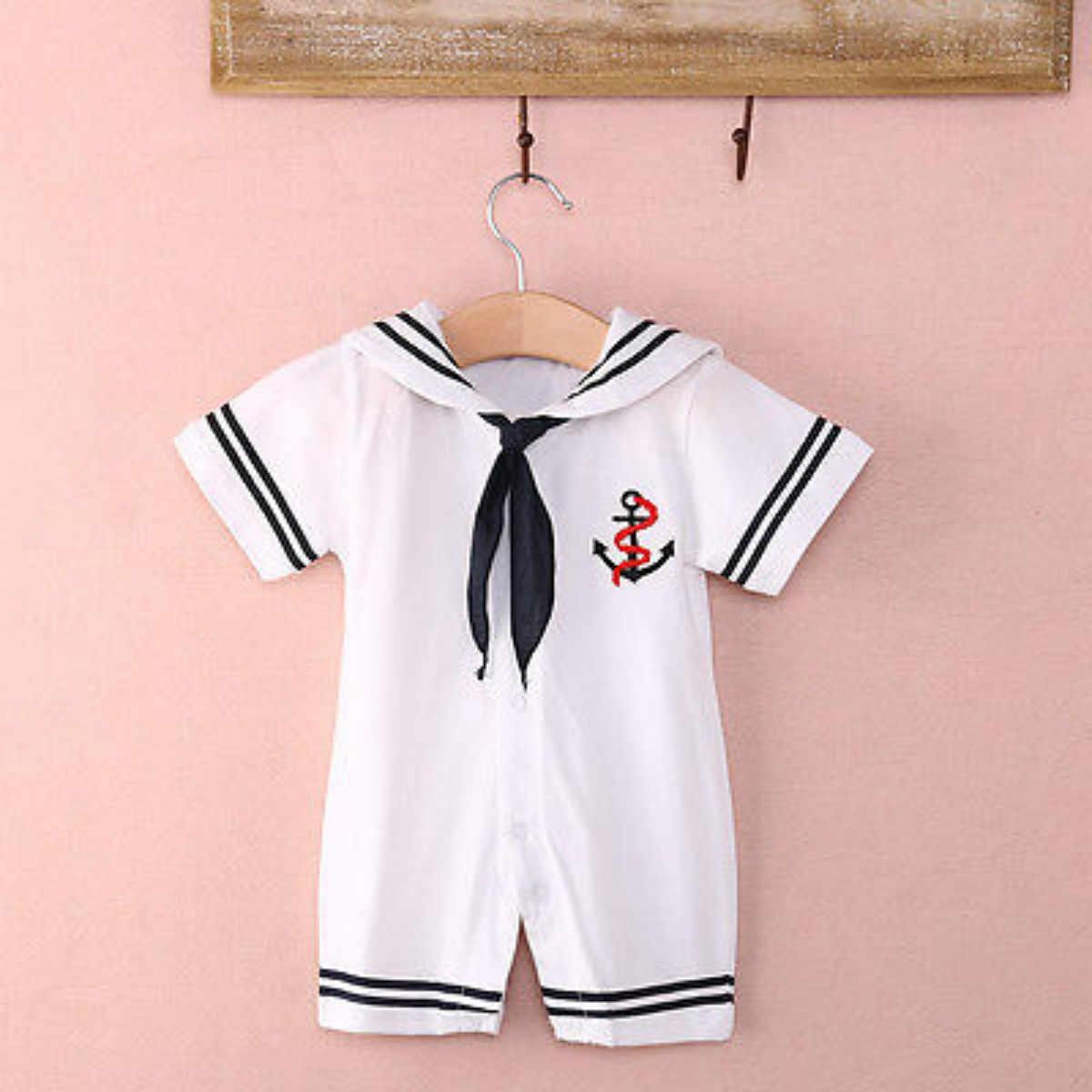 Tulum 2018 Yeni Marka Sıcak Satış Sonbahar Erkek Bebek Denizci Yaka Kısa Kollu Pamuk Kıyafetler Romper Yenidoğan Bebek Giysileri