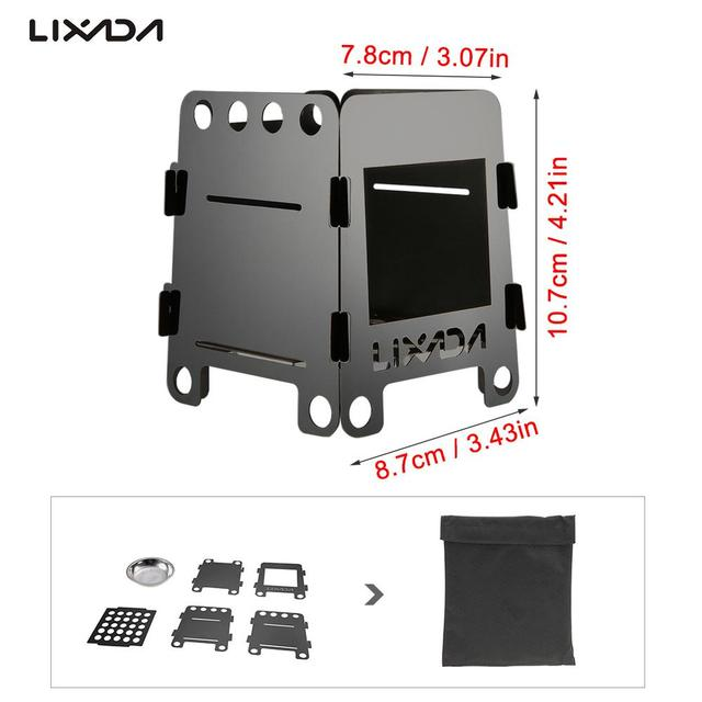 Lixada Folding Wood Stove Alcohol Stove Portable Outdoor Picnic Cook BBQ Burners Titanium Camping Stove Stainless Steel with Bag