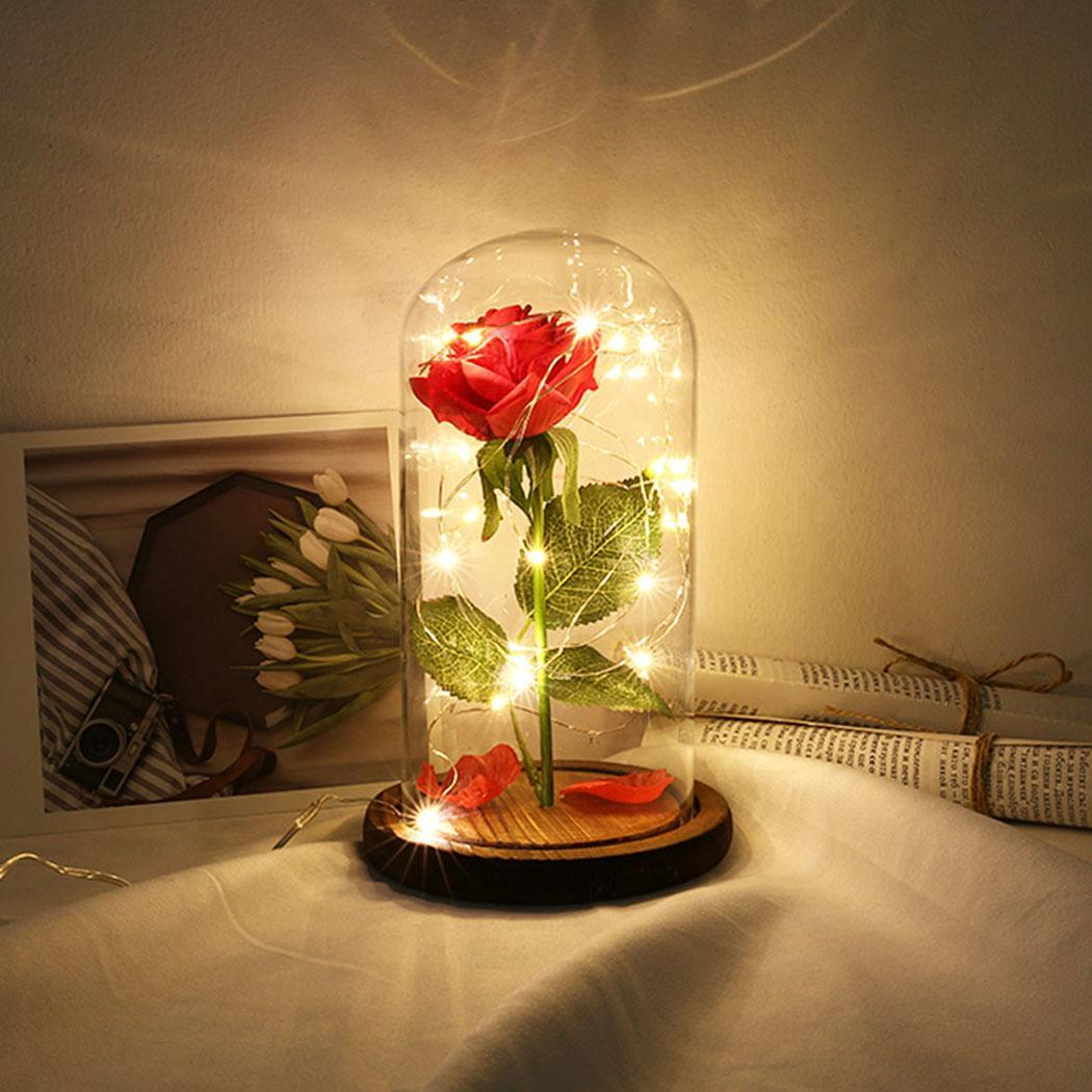 Party Decoration Rose Flower LED Illuminating 20 Illuminating, Home Lights With Glass Cover Wooden USB CaseParty Decoration Rose Flower LED Illuminating 20 Illuminating, Home Lights With Glass Cover Wooden USB Case