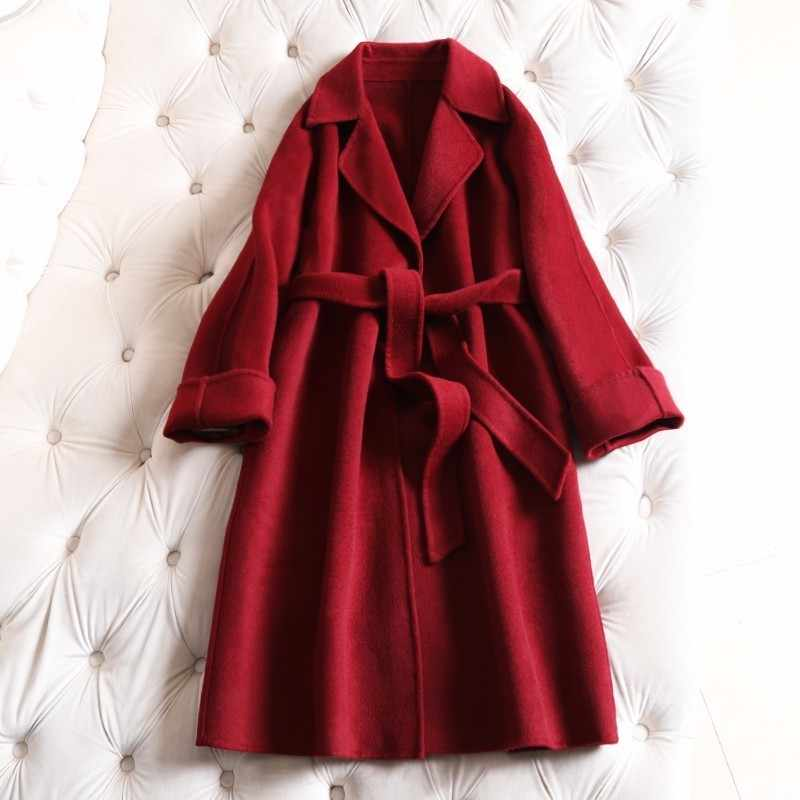 Breif fashion loose double wool coat women winter jacket long 2019 clearance