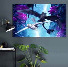 1 Piece Night Fury and Light How To Train Your Dragon 3 Movie Poster HD Wall Picture Canvas Painting for Decor