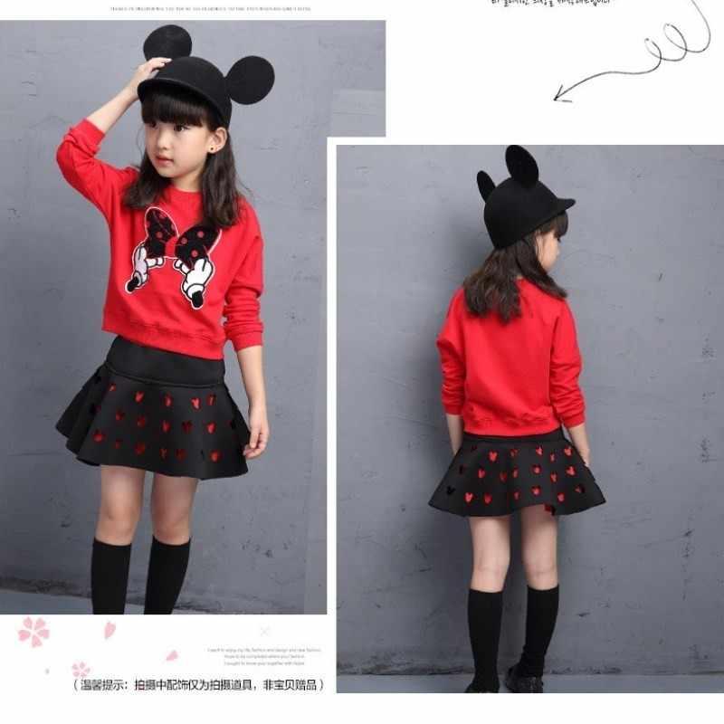 Милые комплекты одежды для маленьких девочек 2017 г., Осенняя детская футболка с рисунком Минни + юбка комплект из 2 предметов, спортивные костюмы с капюшоном детская одежда