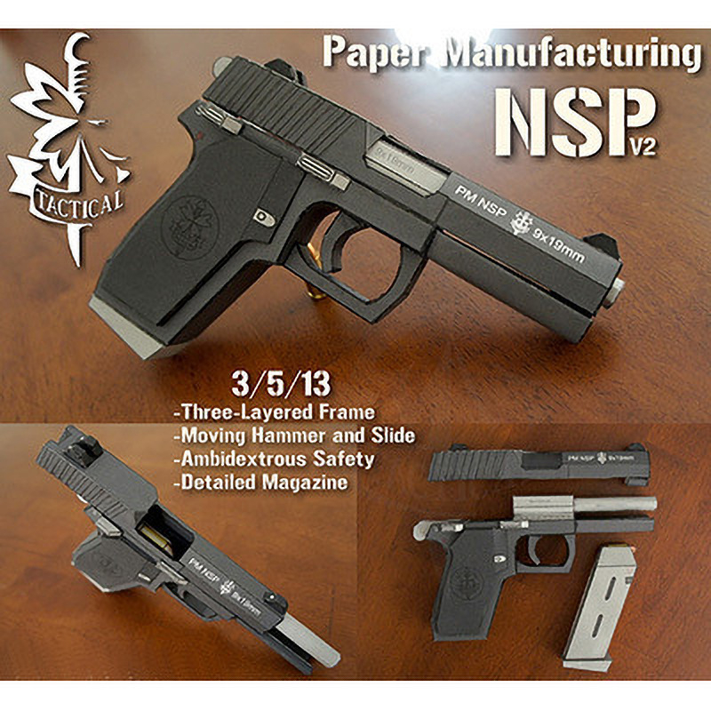 1:1 NSP Pistol Fine Structure 3D Paper Puzzles Handmade Puzzle Gun Model Kits Assemble Jigsaw Adult Gift Kids Toys Collection