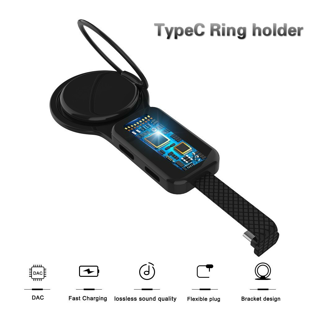 TypeC Dual Adapter & Ring Holder 3.5mm Audio&charger Adjust Phone Holder Fast Charging For Xiaomi 9 Huawei Adapter OTGTypeC Dual Adapter & Ring Holder 3.5mm Audio&charger Adjust Phone Holder Fast Charging For Xiaomi 9 Huawei Adapter OTG