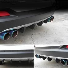 цена на 4pcs Universal Black PVC Car Rear Bumper Spoiler SUV Rear Bumper Diffuser Molding Shark Fin Spoiler Protector Cover Anti-Crash