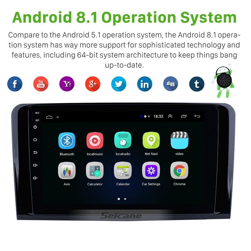 Seicane Android 8.1 için 2005-2012 Mercedes Benz ML sınıfı W164 ML350 ML430 ML450 ML500 araba radyo otomatik Stereo GPS navigasyon