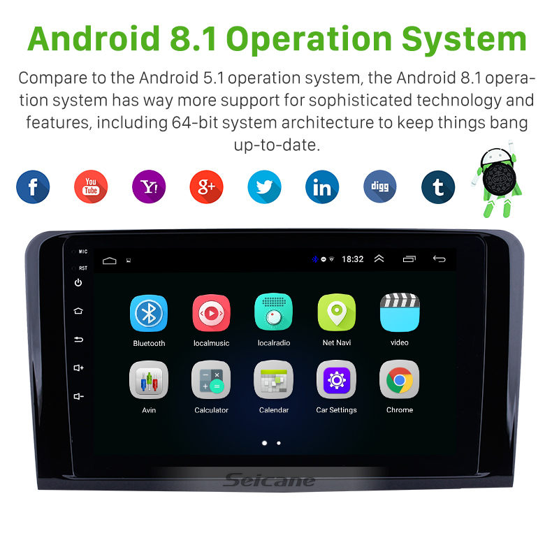 Seicane Android 8.1 For 2005-2012 <font><b>Mercedes</b></font> Benz <font><b>ML</b></font> CLASS <font><b>W164</b></font> ML350 ML430 ML450 ML500 Car <font><b>Radio</b></font> Auto Stereo GPS Navigation image