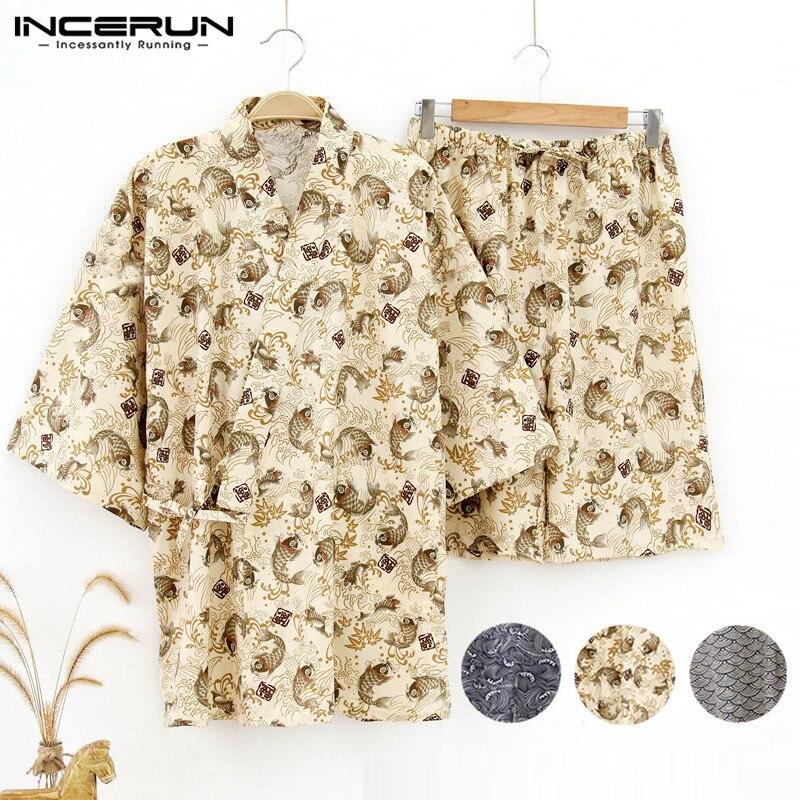 Japanese Kimono Pajamas Kimono Suit Couple Sets Men Women Pajama Lounge Loose 5XL Summer Underwear Set Floral Retro Sleepwear