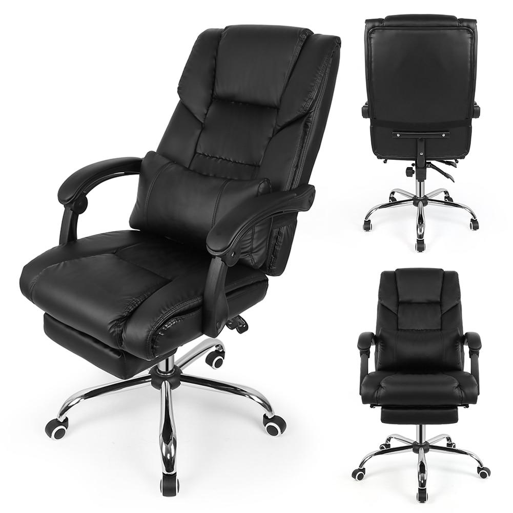 Черный подъема кресла лежащего офис вращающееся кресло Главная компьютерный стол кресло деловые стул с подставкой для ног кожаное кресло