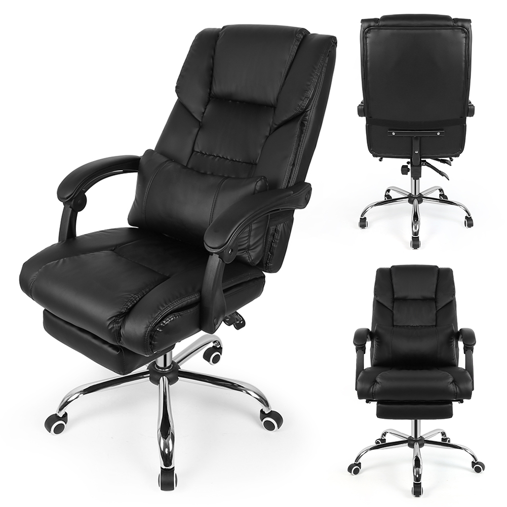 Black Lifting Chair Reclining Office Swivel Chair Home Computer Desk Armchair Boss Office Chair With Footrest Leather Chair HWC