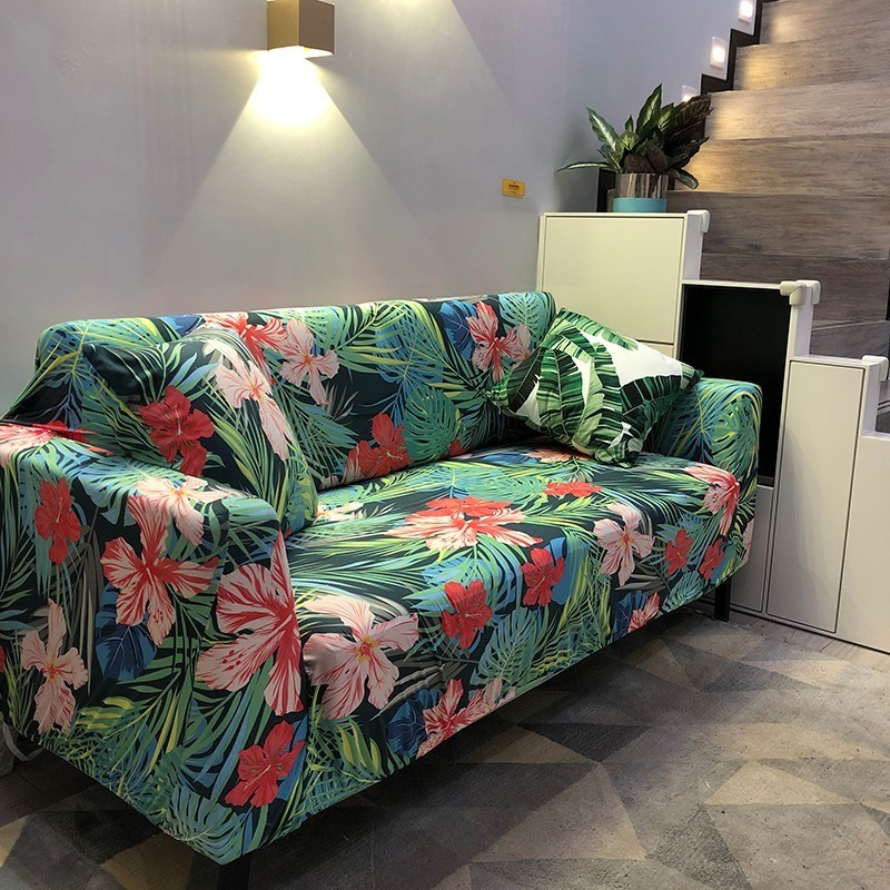 New Plant Print Sofa Cover Night Forest Couch Cover Tight