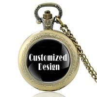 10 Pieces Costomized Design Full Hunter Quartz Engraved Fob Retro Pendant Pocket Watch Chain Gift