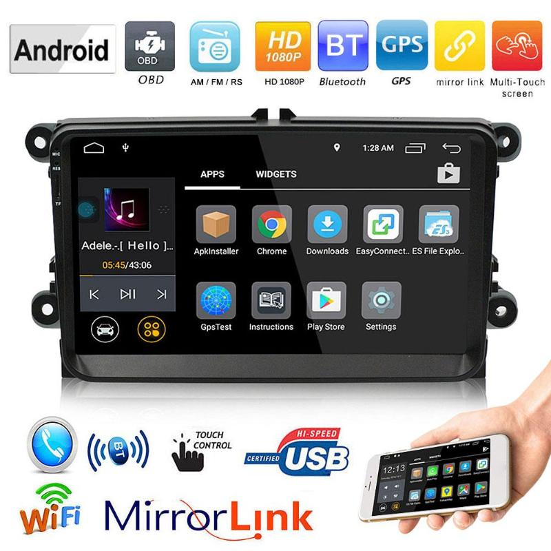 1Din 9in TFT WiFi BT Android Car Stereo MP5 Player GPS Navi USB FM/AM Radio Player Auto Audio Video Music Player For Skoda
