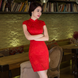 Image 3 - SHENG COCO Womens Red Chinese Traditional Dresses Thin Short Jacquard Cotton Cheongsam Chinese Style Maam Marry Qipao Chinese