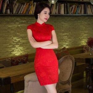 Image 3 - Sheng coco vestidos tradicionais chineses vermelhos, fina, curta, de algodão, cheongsam, estilo chinês maam marry, qipao
