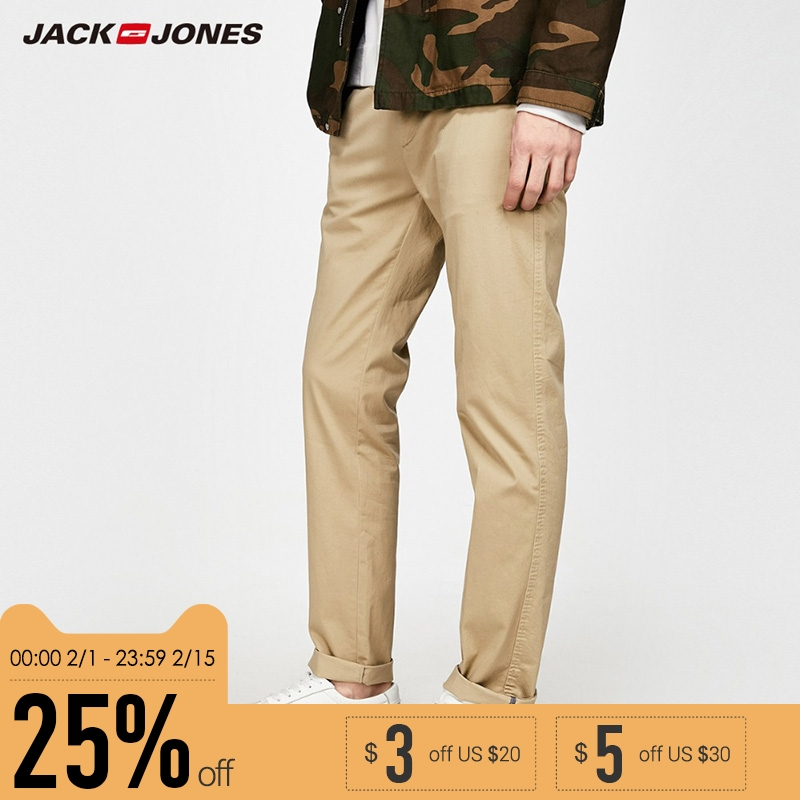 JACK&JONES Brand 2018 NEW Smart casual style solid slim 98% COTTON comfortable stretched male full length pants  217314511