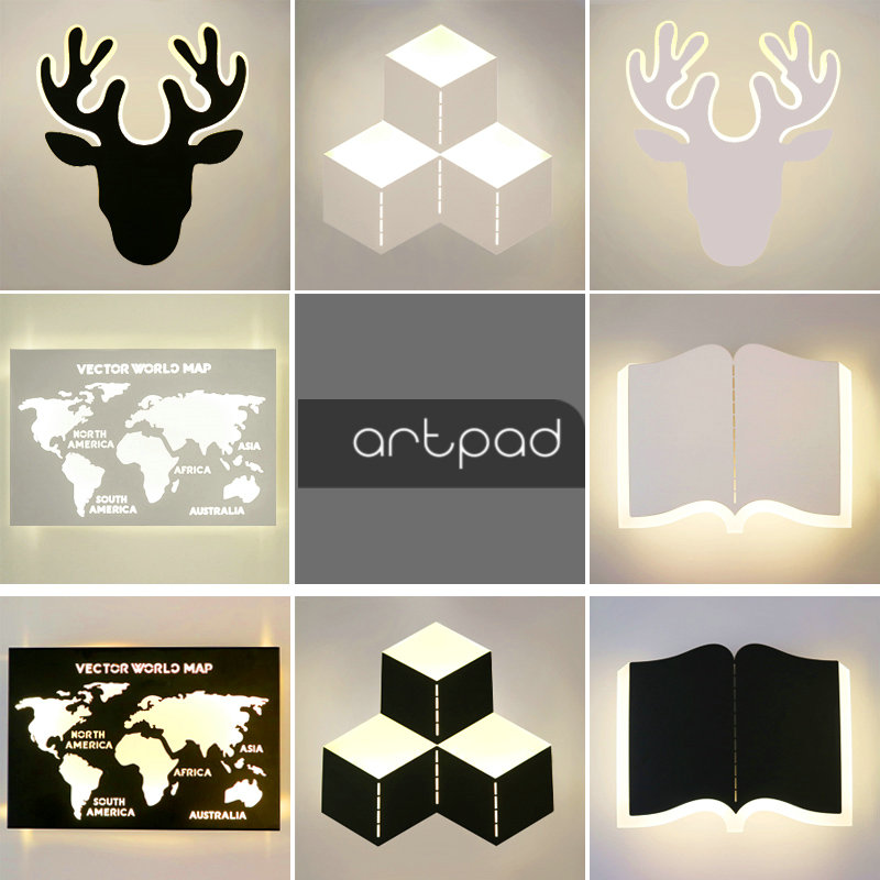 Minimalist Black White Wall Lights for Bedroom Bedside Reading Acrylic LED Deer Book World Map Wall Light Lamp Stairs Indoor