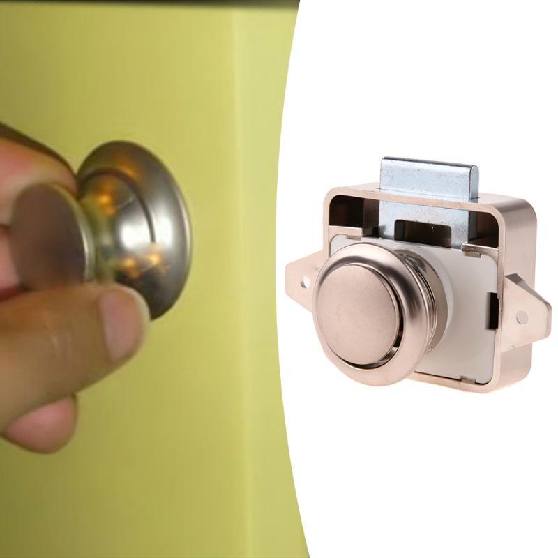 Mini Push Lock Button Catch Lock Cupboard Door Knob Camper Caravan  Motorhome RV Cabinet Drawer Push Latch