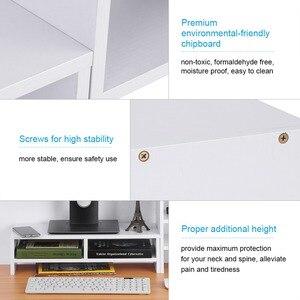 Image 4 - Soporte vertical para Monitor de ordenador portátil organizador de almacenamiento de madera de escritorio + herramienta de estante de 3 capas