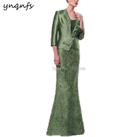 YNQNFS M181d 2019 Formal Dress Party 2 Piece Long Mermaid Olive Green Mother of the Groom Dresses with Jacket Godmother Gown