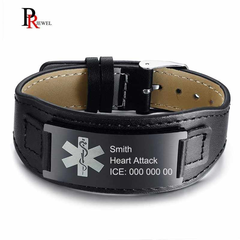 Men's Women's Medical Alert ID Bracelets Free Custom Engraving Diabetes Disease Name ICE Info