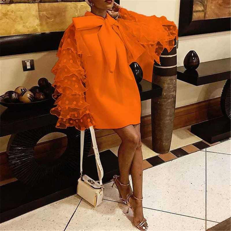 ビッグサイズエレガントなパーティー Ol レディーオレンジヴィンテージハイストリートの女性ミニドレスカジュアルフリル袖メッシュ弓女性のファッションドレス