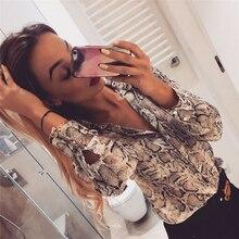 Women Shirts Snake Skin Print Blouse Button Shirt L
