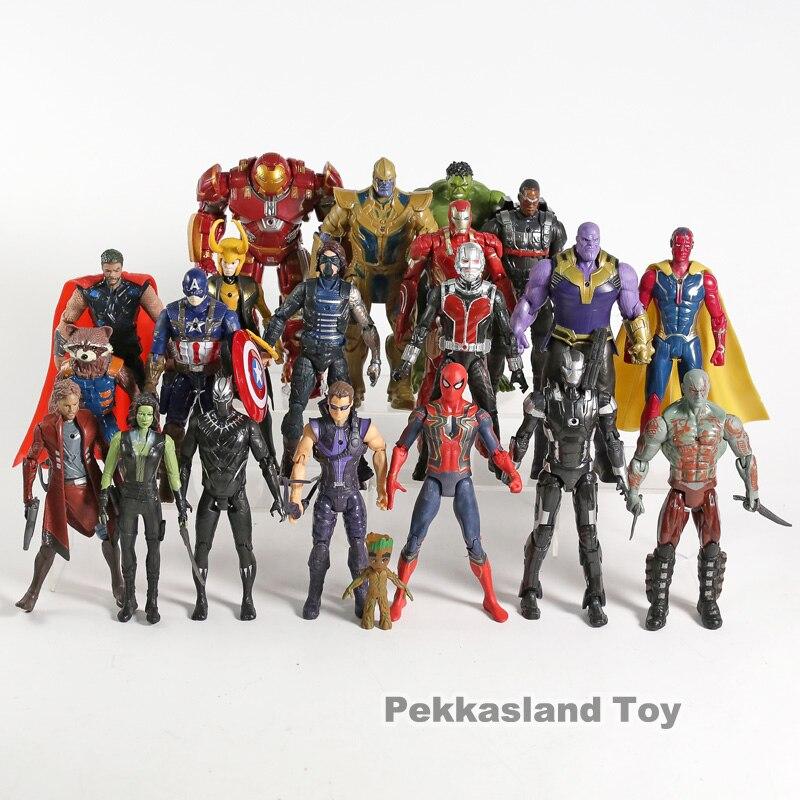 Marvel Avengers figurines d'action 21 pièces/ensemble Thanos Iron Man Captain America Thor Loki Hulk Noir Panthère Vision Étoiles Seigneur L'homme fourmi