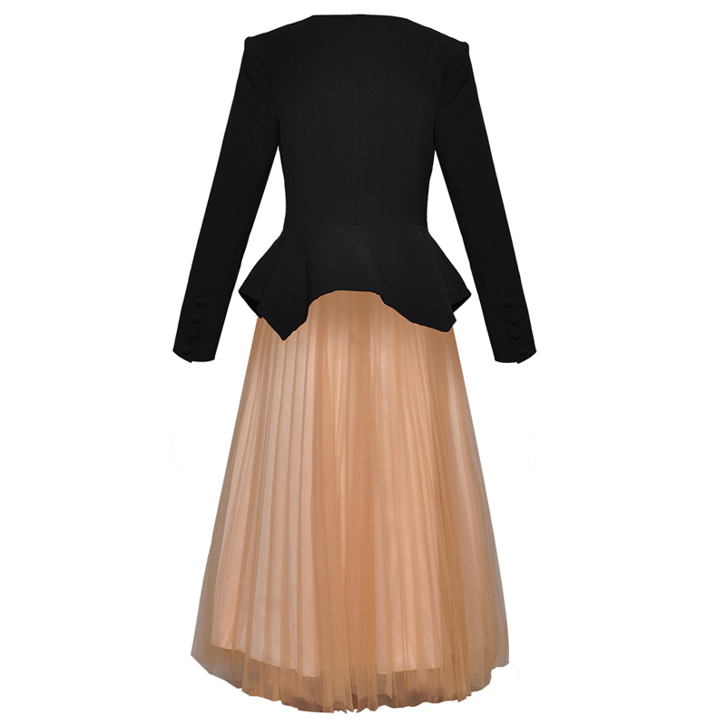 Midi Jupe Deux Longues Manches Blazer Jupes Maille Costume V Peplum Ensemble Cou Veste Tops Robe Piste Bal De Femmes À Noir Pièces SR4wq