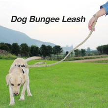 Pets Lead Dog-Collar Nylon Running Leashes Small Medium Dog Leash Training Bungee Elastic Rope Double Control Handle
