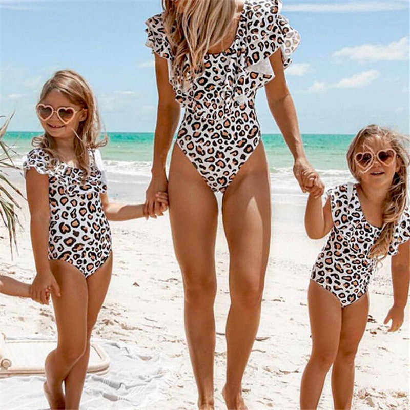 4e4107120e 2019 Summer Family Matching Swimsuit Mother Daughter Swimwear Women Kids  Gils Leopard Print Ruffles One-