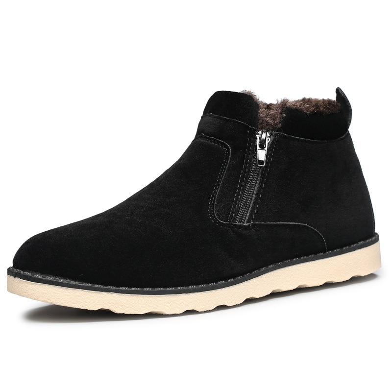 Heißer Verkauf Mode Martin Stiefel Männer Kurze Top Flache Ferse Zip Schuhe Warm Plüsch Pelz Winter Stiefel Bequem Martin Stiefel größe 39-44