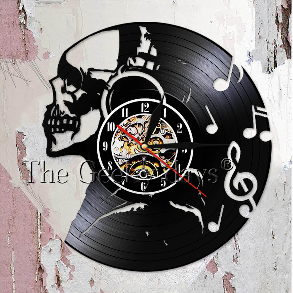 Music Skull Headphones Home Decor Vinyl Record Wall Clock Design Skull Music Wall Clock Watch Best Halloween Party Clock Gift
