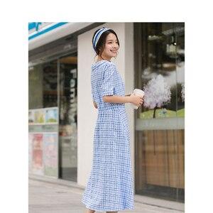 Image 2 - אינמן קיץ כחול לבן משובץ ספרותי צעיר ילדה רזה אונליין להנמיך צווארון נשים שמלה