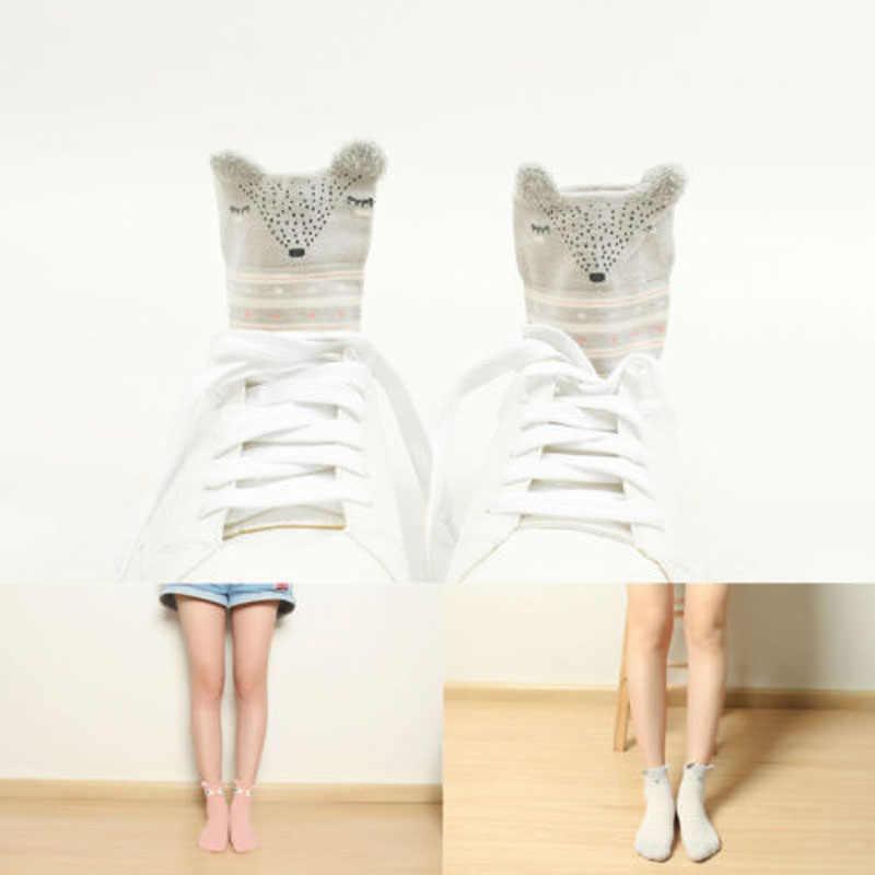 Calcetines suaves de algodón de dibujos animados a rayas con huellas de animales bonitos informales para mujer de nuevo estilo