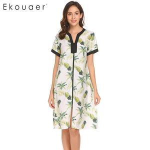 Image 2 - Ekouaer femmes chemises de nuit Chemise de nuit col en v à manches courtes Floral avant fermeture à glissière vêtements de nuit Chemise de nuit femme robe de nuit