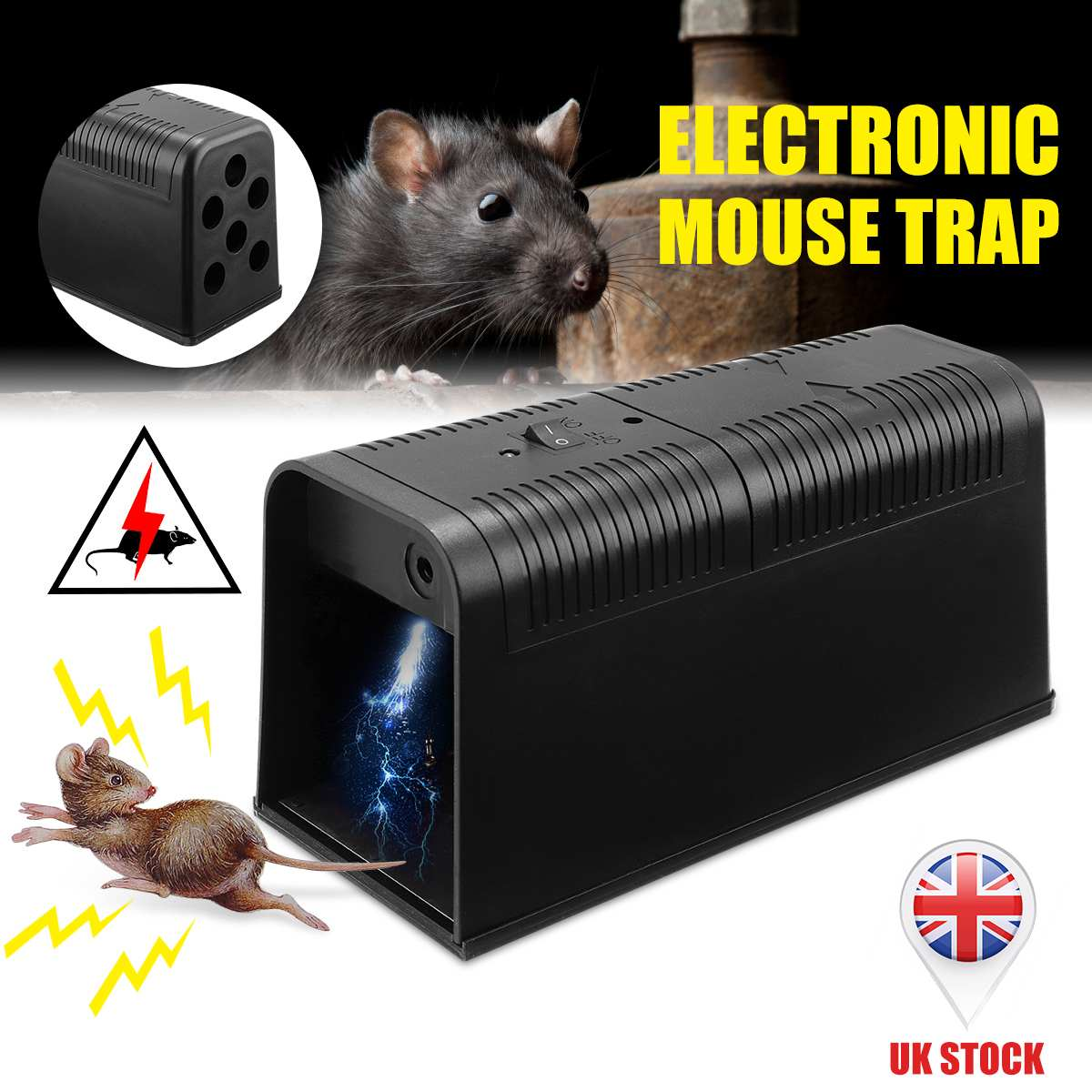 Electronic Mouse Killer Rat Zapper Exterminator Trap Humane Rodent Mousetrap Device DC6V With Protection Switch