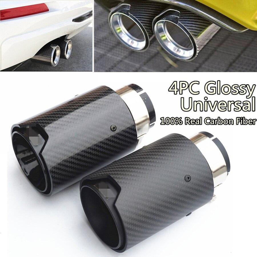 4 pièces embouts universels d'échappement de voiture tout noir brillant vraie Fiber de carbone 2.5 ''en 3.5'' avec Logo