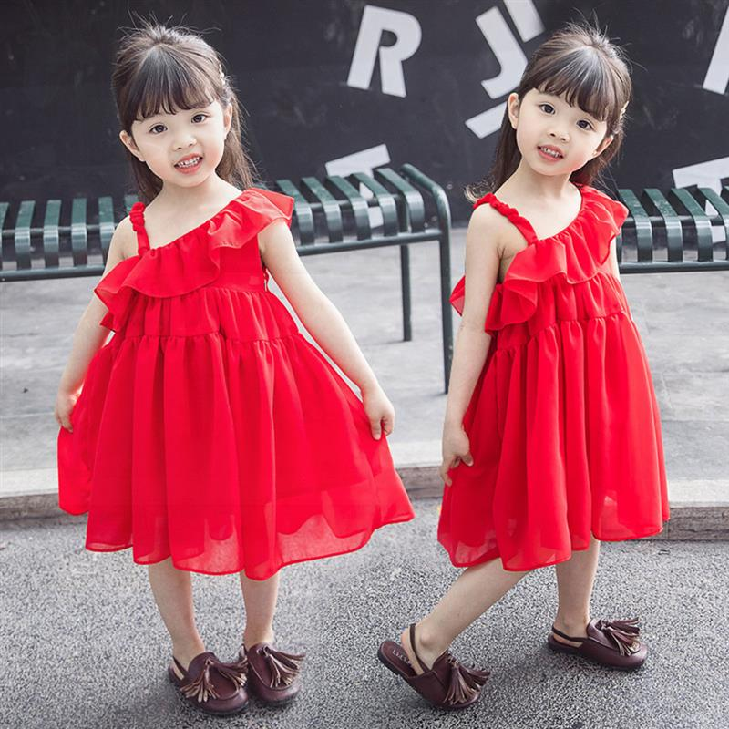0826bf6dfc32e US $9.81 49% OFF|kid toddler baby Girls clothes 2019 summer shoulderless  strap red dress new children's chiffon tutu dress fashion party wedding-in  ...
