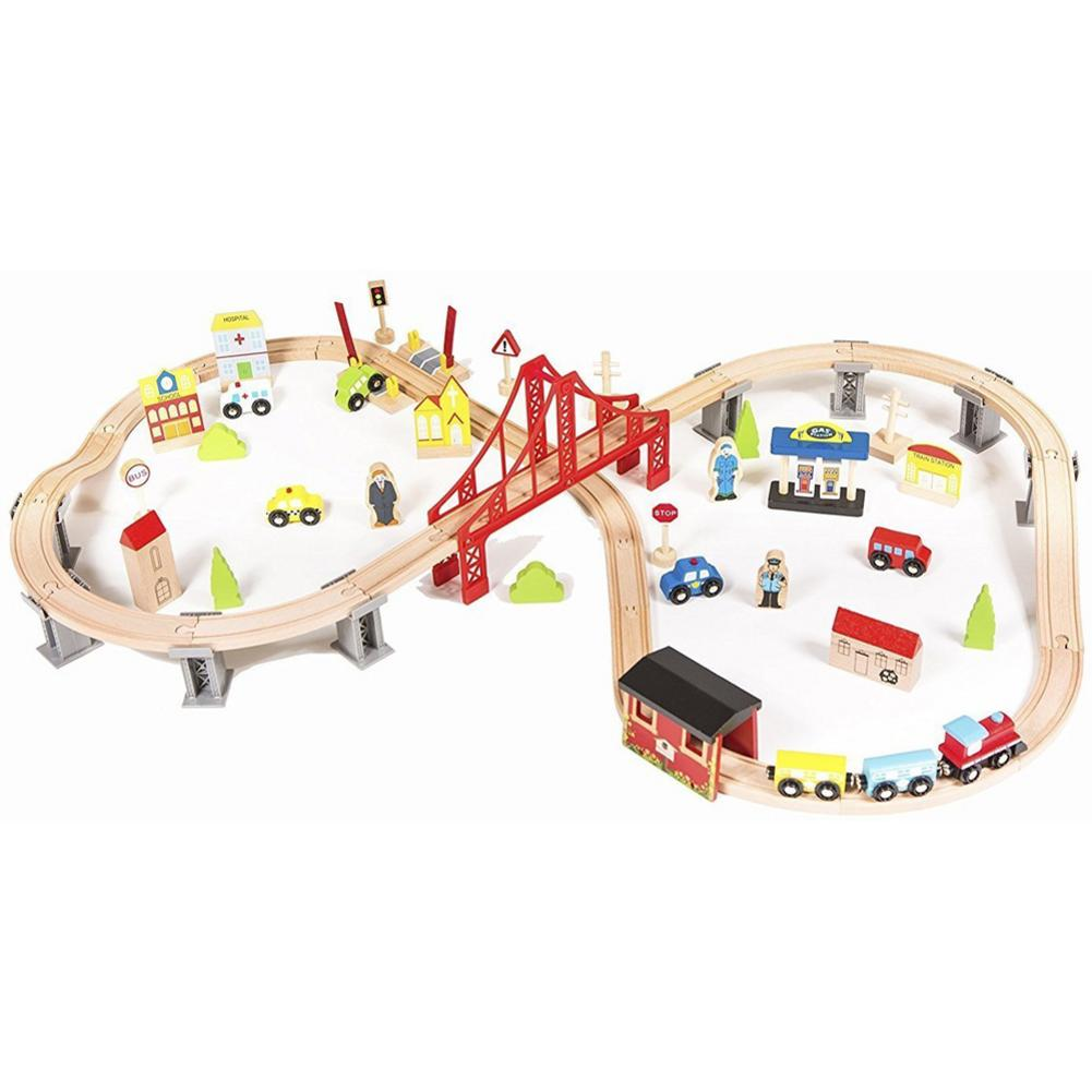 70 pièces ensemble de Train en bois jouet d'apprentissage enfants enfants amusant route traversée voie chemin de fer jouer multicolore grand cadeau pour les enfants