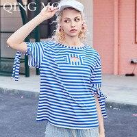 QING MO Women Bust Hollow Out T Shirt Women Blue And White Striped T Shirt Women Sleeve Tied Strape Design Summer T Shirt ZQY276